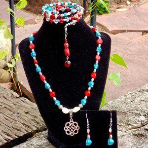 Natural Coral&Alibaster Jewelry Set